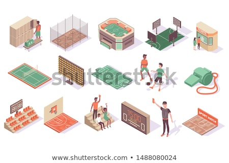 Icon playground soccer in isometric, vector illustration. stock photo © kup1984