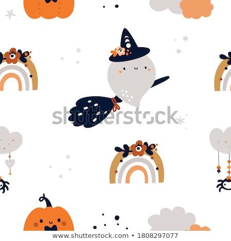 Szellem halloween aranyos rajzfilmfigura mosolyog integet Stock fotó © Krisdog
