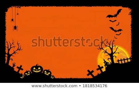 Halloween postcard with moon and pumpkins Stock photo © Sonya_illustrations
