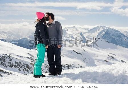 Stok fotoğraf: öpüşme · üst · dağ · spor · dünya · çift
