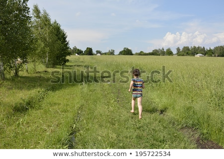 Gyerekek fut lefelé vidék sáv gyermek Stock fotó © IS2