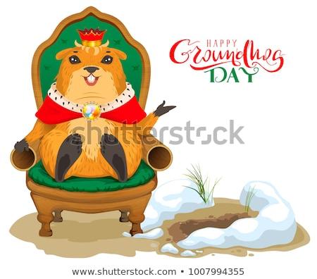 Feliz día tarjeta de felicitación rey sesión trono Foto stock © orensila