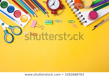 Biały żółty szkoły notebooki zestaw władcy Zdjęcia stock © romvo