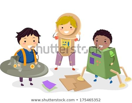 stickman kids carton boxes stock photo © lenm