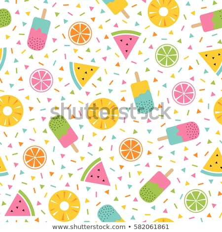 Stock photo: Fruit seamless pattern in memphis style.