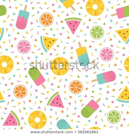 fruit seamless pattern in memphis style stock photo © expressvectors