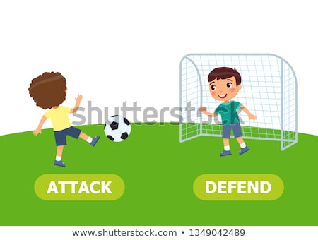 Opposite words for attack and defend Stock photo © bluering