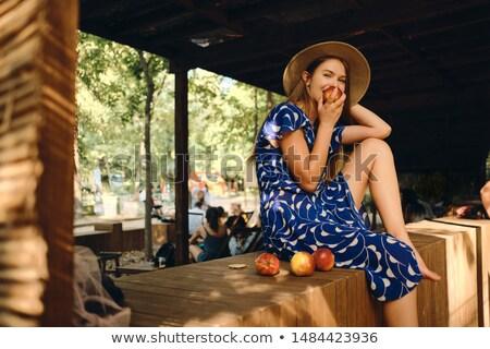 Teenage girl sitting on wooden fence Stock photo © IS2