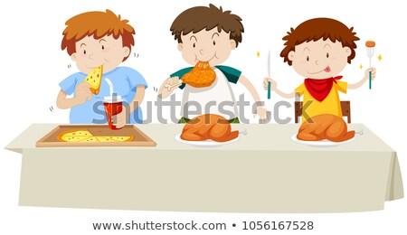 Drie jongens eten kip pizza eettafel Stockfoto © bluering
