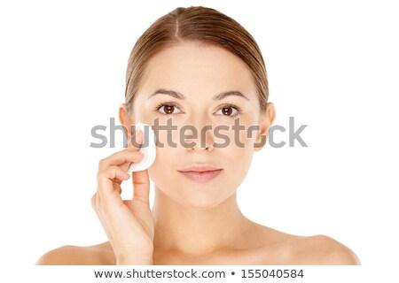 красивой · Lady · очистки · лице · хлопка · улыбаясь - Сток-фото © deandrobot