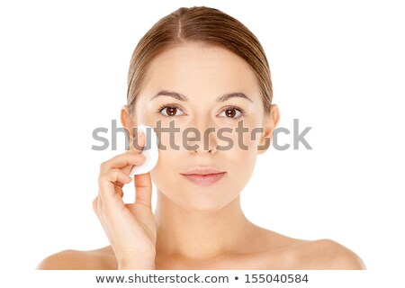 улыбаясь · азиатских · Lady · прикасаться · кожи · глядя - Сток-фото © deandrobot