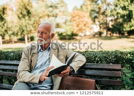 portret · senior · man · park · tuin · asian - stockfoto © is2