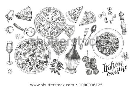 пиццы · салями · вкусный · изолированный · белый · вектора - Сток-фото © alexmillos