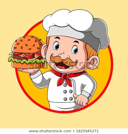 Chef Holding Burger Cartoon Character Stock photo © Krisdog