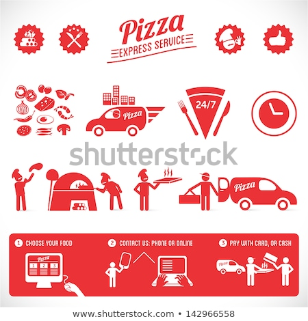 Wood fired pizza icon sign. Ribbon sign, graphic design. Stock photo © alexmillos