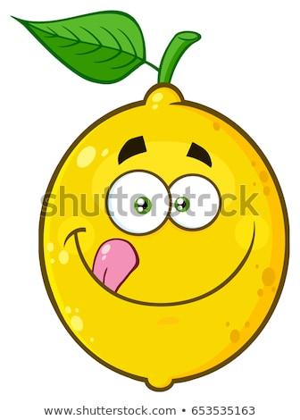 Gülen sarı limon meyve karikatür yüz Stok fotoğraf © hittoon