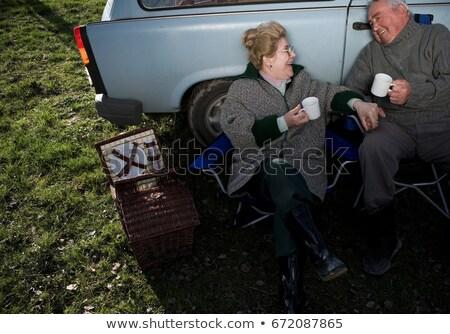 paar · picknick · vrouw · liefde · natuur · ontspannen - stockfoto © is2