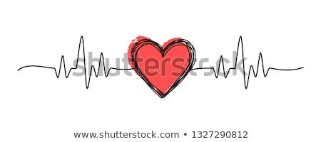 hartslag · kardiogram · schets · icon · vector · geïsoleerd - stockfoto © rastudio