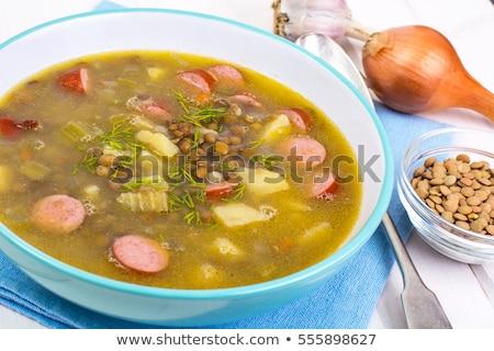 自家製 スープ ソーセージ エナメル マグ ストックフォト © Melnyk