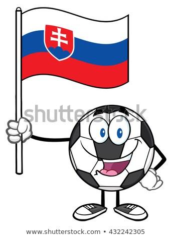 Mutlu futbol topu karikatür maskot karakter bayrak Stok fotoğraf © hittoon
