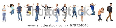 Schoolgirl with backpack on a white background Stock photo © Natalia_1947