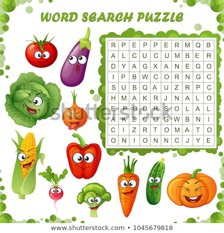 Gemüse Kreuzworträtsel Spiel Vorlage Illustration Kunst Stock foto © bluering