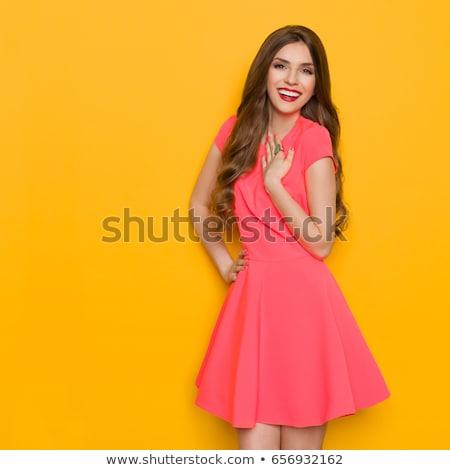Portret zachwycony młoda kobieta lata sukienka odizolowany Zdjęcia stock © deandrobot