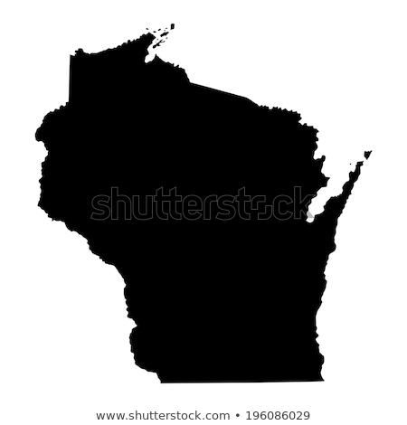 Wisconsin vektör harita siluet yalıtılmış beyaz Stok fotoğraf © kyryloff