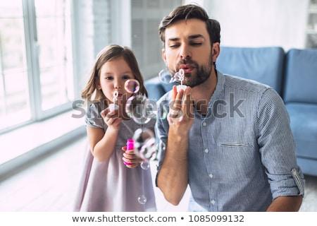 çocuklar sabun köpüğü oynama ev çocukluk Stok fotoğraf © dolgachov