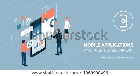 Programmers team mobile app interface development. Stock photo © jossdiim
