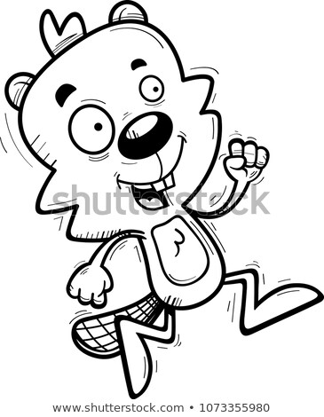 Cartoon Male Beaver Running Stock photo © cthoman