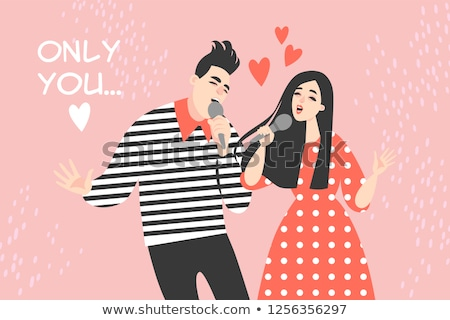 A young man singing a song vector illustration. stock photo © Vicasso