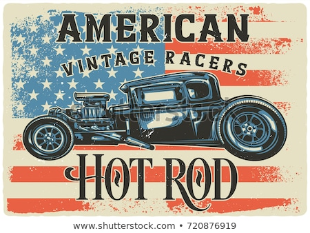 Cartoon retro hot rod with vintage lettering poster Stock photo © mechanik