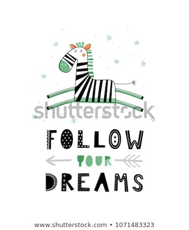 Cartoon Zebra Dreaming Stock photo © cthoman