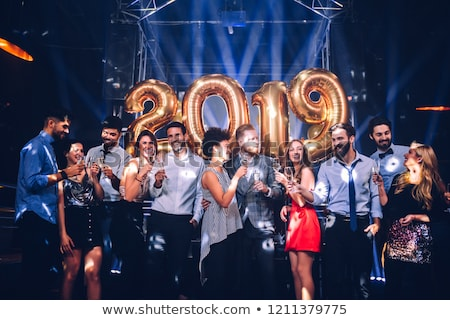 Photo stock: Happy · new · year · or · glitter · verre · Toast · champagne