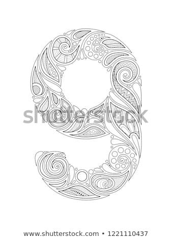 Monochroom decoratief aantal negen doodle Stockfoto © lissantee