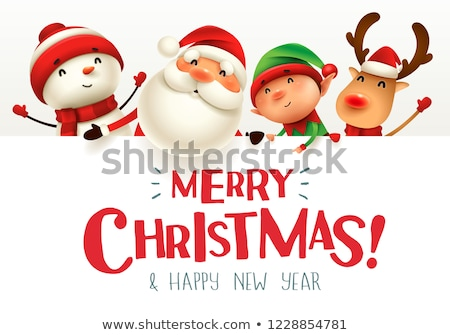 Cheerful snowman with big signboard. Merry Christmas calligraphy Stock photo © ori-artiste