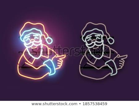 neşeli · Noel · happy · new · year · neon · sanat · parti - stok fotoğraf © anna_leni