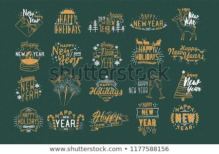Decoração elementos ano novo letra arte assinar Foto stock © myfh88