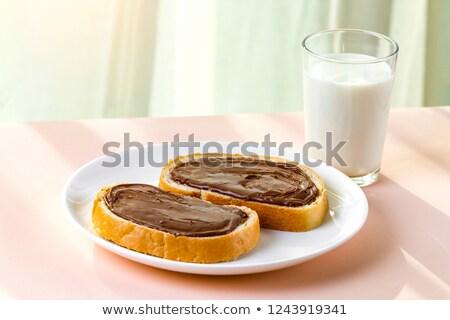 White nougat slices on white plate Stock photo © Alex9500