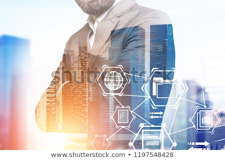 Silhouette of business people work together in office. Concept of teamwork and partnership. double e Stock photo © alphaspirit