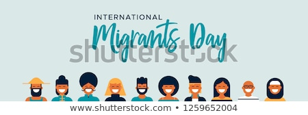 Migrants Day banner of diverse people group Stock photo © cienpies