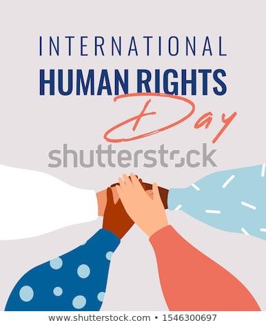 Mensenrechten dag kaart mensen handen samen Stockfoto © cienpies