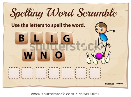 Spelling word scrable game with word bowling Stock photo © colematt