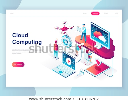 Cloud computing - modern isometric vector website header Stock photo © Decorwithme