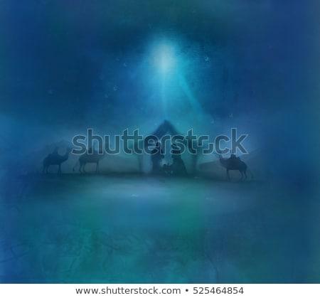 İncil · sahne · Noel · siyah · beyaz · örnek · İsa - stok fotoğraf © Olena