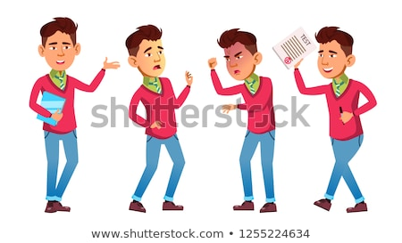 Asian Boy Poses Set Vector. High School Child. Classmate. Life, Emotional, Pose. For Web, Brochure,  Stock photo © pikepicture