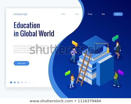 global online education isometric 3d concept illustration stock photo © rastudio