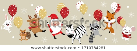 Stock fotó: Aranyos · zebra · tart · színes · léggömbök · illusztráció