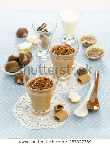 Glass cups of chocolate and chestnuts mousse Stock photo © homydesign